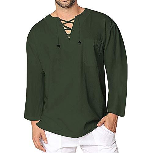 Celucke Leinenhemd Herren Langarmshirt Yoga Shirt Mittelalter Langarm V Ausschnitt mit Schnürung, Leinen Shirts Männer Vintage Freizeithemd Leichte Bequem Atmungsaktives (Armeegrün, L)