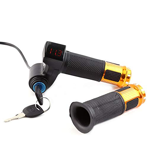 Alomejor Manopole per Acceleratore per Bici Manopole Manubrio per Bicicletta Elettrica con Esposizione del LED e Chiave per Skateboard Elettrico(d'oro)