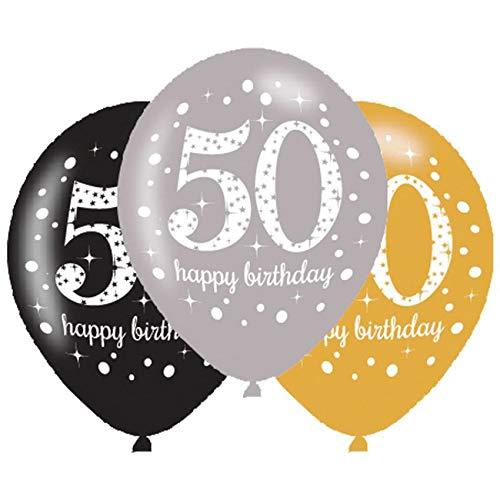 Amscan 10022458 9900740 - Latexballons 50 Happy Birthday, 6 Stück, Luftballons, Geburtstag, Dekoration