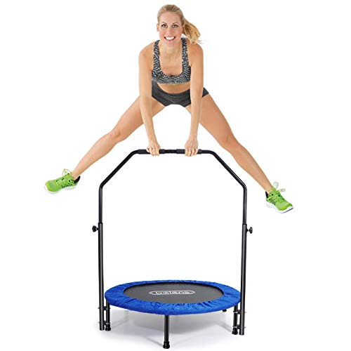 """beiens 40"""" Mini Trampoline, Foldable Rebounder with Adjustable Foam Handle and Safety Pad, Indoor Outdoor Exercise Trampoline for Adults Kids Body Fitness Training Workouts, Max Load 250lbs (Blue)"""