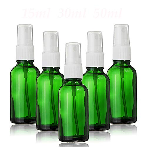 Lot de 5 mini flacons pulvérisateurs vides rechargeables en verre vert pour huiles essentielles, parfum et cosmétiques, 10ml, 1