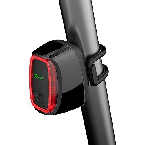 Inteligente cola de la bicicleta Luz, X6 USB recargable linterna de la luz trasera Luz trasera para Bicicleta de ciclo, a prueba de agua de luz de seguridad de la bici Reflectors- 16 LED con luz Sensing & Shock Sensor (Negro)
