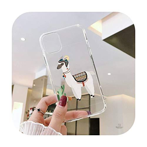 Llama lindo patrón de alpaca teléfono caso transparente para iPhone 11 12 mini pro XS MAX 8 7 6 6S Plus X 5S SE 2020 XR-a7-iPhoneX o XS