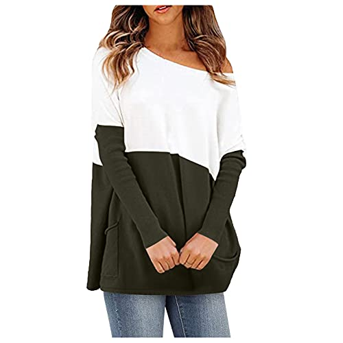 WAo Blusa informal de patchwork para mujer, con cuello en O y un hombro, túnica con bolsillos, verde, S