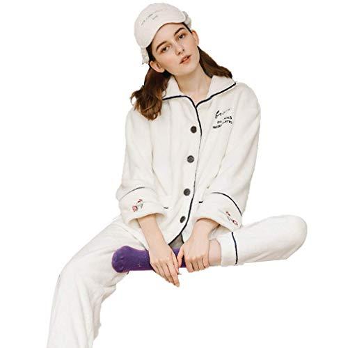 Ropa de Dormir y Batas Pijamas Invierno Coral Terciopelo Pijamas Damas más Terciopelo Acolchado Servicio a Domicilio Lindo Pijama cálido Conjunto