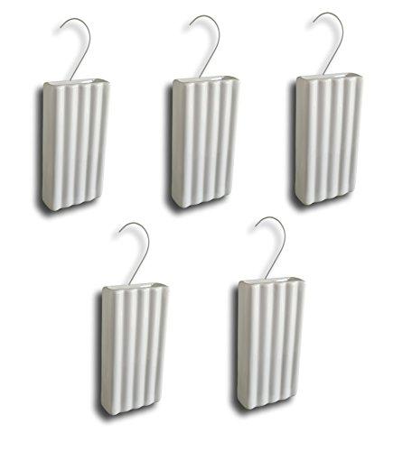 Keramische luchtbevochtiger verdamper waterverdamper voor verwarming radiator vlakverdamper wit gegroefd met hanger (hoeveelheid: 5)