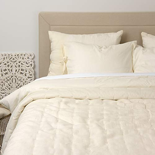 "Best Home Fashion Linen and Cotton Tufted Quilt- Casual Elegance, Lightweight and Stylish Bedding, Blanket-KING-WHITE-108"" L x 92"" W"