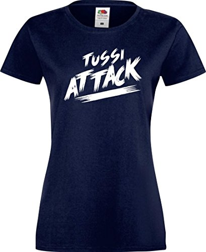 Shirtinstyle Lady T-Shirt Tussi Attack,Navy, XXL