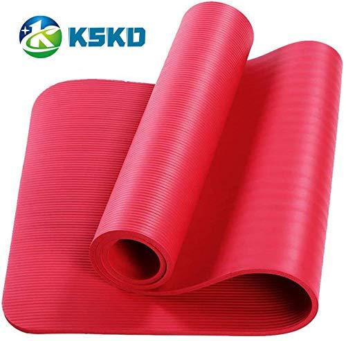 KSKD - SGS TPE gecertificeerde yoga- en gymmat en gestructureerd trainingsmateriaal met antislip-oppervlak en optimale demping met lichaamsgeleidingslijnen, draagriem 183 x 61 x 0,6cm
