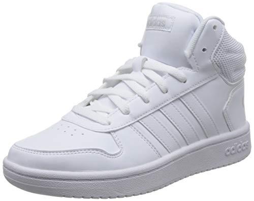adidas Hoops 2.0 Mid, Scarpe da Basket Donna, Bianco (Ftwbla/Ftwbla/Ftwbla 000), 36 EU
