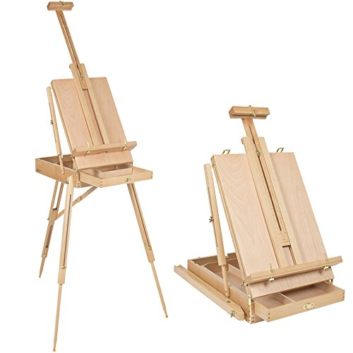 Kuyal Wooden Easel & Painting Storage Box with Drawer, Shoulder Strap, Palette ,Indoor Outdoor Field Folding Portable Easel, Box Easel Sketchbox for Painting, Sketching, Display