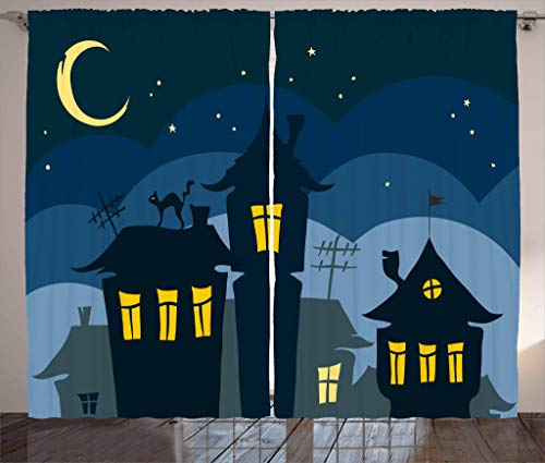 Ambesonne Halloween Curtains, Old Town with Cat on The Roof Night Sky Moon and Stars Houses Cartoon Art, Living Room Bedroom Window Drapes 2 Panel Set, 108' X 84', Yellow Black