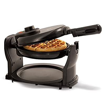 BELLA (13591) Classic Rotating Non-Stick Belgian Waffle Maker with Removeable Drip Tray, Black