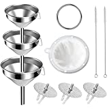 10pcs Large Funnels 3PCS Stainless Steel Funnels with 3 Pack Removable Strainer 1pcs Nylon Strainer 2pcs Cleaning Brushes and 1pcs Snap Ring for Kitchen Transfer Liquid Filter Essential Cook Oils