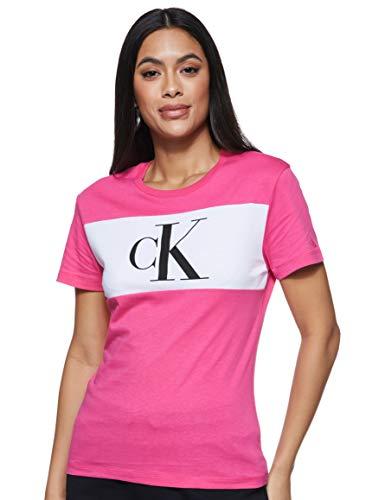 Calvin Klein Jeans Damen Blocking Monogram Ck Tee Hemd, Pink, XL