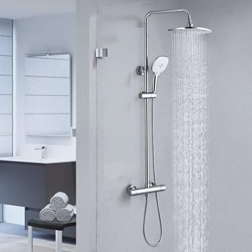 CECIPA Duschsystem Regendusche mit Thermostat,Duschsäule mit Duschkopf und Handbrause für Badezimmer Dusche, Chrom