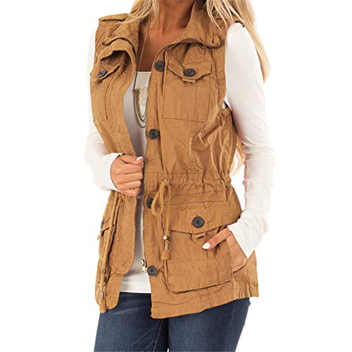 Koodred Women's Casual Military Utility Vest Lightweight Sleeveless Drawstring Jackets with Pockets Yellow