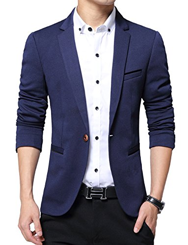 DAVID.ANN Men's Slim Fit Suits Casual One Button Flap Pockets Solid Blazer Jacket,Dark Blue,Large