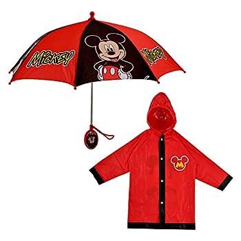Disney Little KidsUmbrella and Slicker,Mickey MouseToddler BoyRainWear Set,for Ages2-7 Red Medium-Age 4-5