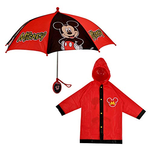 Disney boys Mickey Mouse Slicker and Rainwear Set Umbrella, Red, 3T US