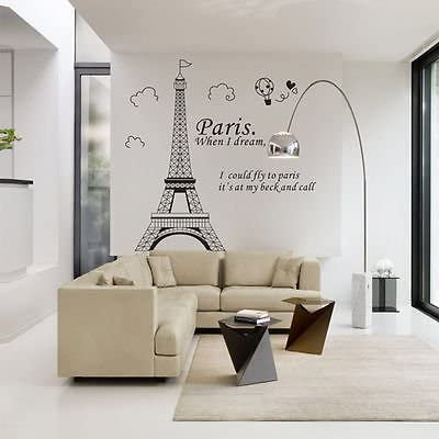 COLIBROX Wall Stickers Quote 1 Piece Paris Eiffel Tower Stickers Quotes Vinyl Art Decal Poster product image