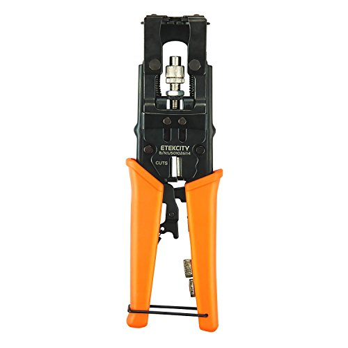 Etekcity Coax Cable Crimper, Multifunctional Compression Connector Adjustable Deluxe Tool for F BNC RCA, RG58 RG59 RG6, Universal Wire Cutters