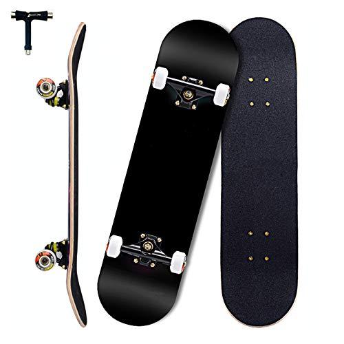 Sumeber Skateboards Komplett 31 Zoll Double Kick Adult Tricks Skateboard für Anfänger 79x20cm Komplettes Skateboard mit ABEC 11 Kugellager für Kinder Erwachsene als Geburtstagsgeschenk (schwarz)