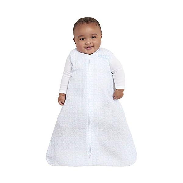 HALO 100% Cotton Muslin Sleepsack Wearable Blanket, Circles Turquoise, Small