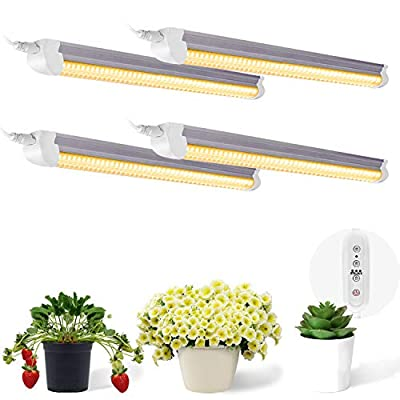 SHOPLED T8 LED Grow Light 2ft, 80W(4 × 20W), Full Spectrum High Output Plant Light Fixture for Indoor Plant Seedling, Sunlight Replacement, Linkable Indoor Plants Growing Lights, 4-Pack