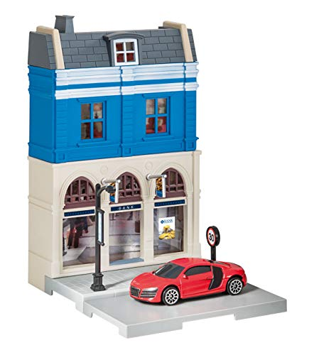 Herpa 800037 Fahrzeug City: Bankgebäude mit Audi R8 zum Basteln, Spielen und als Geschenk, Mehrfarbig