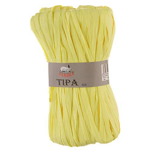 50g / 80m Tipa Raffia Papierschnur Papiergarn Dekoband Papierband Farbwahl, Farbe:53 gelb