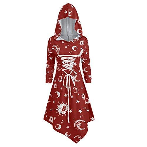 ZEELIY Retro Kleid mit Kapuze für Damen Frauen Lange Ärmel Damenkostüme Vintage Mittelalter Renaissance Halloween Party Kostüm Kleider Große Größen Lange Pullover Kleidung