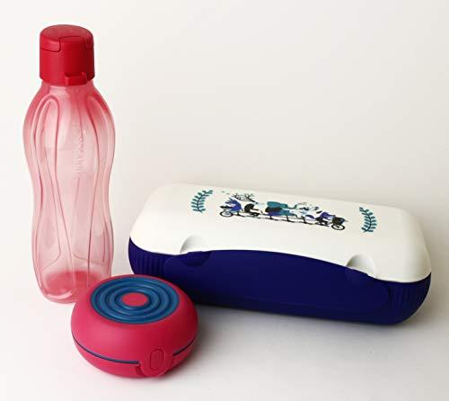 Lunchbox TUPPERWARE to Go Blau/Weiß Brotdose Box Behälter Twin Kühlschrank + Flexi rot + EcoEasy Trinkflasche to go 500ml Rot Clipverschluss + Geschenk Kiwilöffel