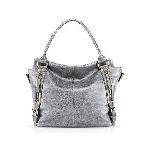 NICOLE & DORIS Damen handtaschen Stilvolle Damen Hobo Umhängetaschen mit großer Kapazität Schultertasche aus PU-Leder Silber