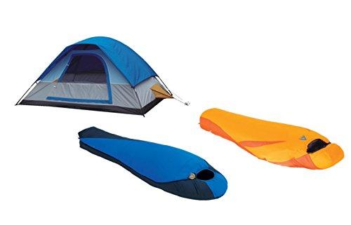 Alpinizmo High Peak USA Extreme Pak 0F & Latitude 20F Schlafsack mit Zelt Combo Set, One Size, blau/orange