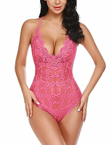wearella Lencería de encaje para mujer - Babydoll con espalda abierta de peluche hundido [Pequeño - Rosa rojo] (Ropa)