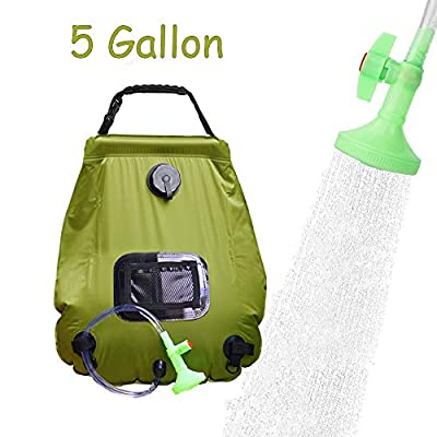 HOME TELLER Solar Shower Bag Outdoor Camp Bag with Removable Hose and On-Off Switchable Shower Head for Camping Beach Swimming Outdoor Traveling Hiking (5 Gallon) (Army Green)