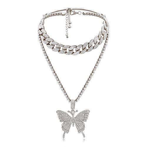 POHOVE Halskette mit Anhänger, Schmetterling-Design, Retro-Stil, lang, Strass, Hip Hop, 2 Stück