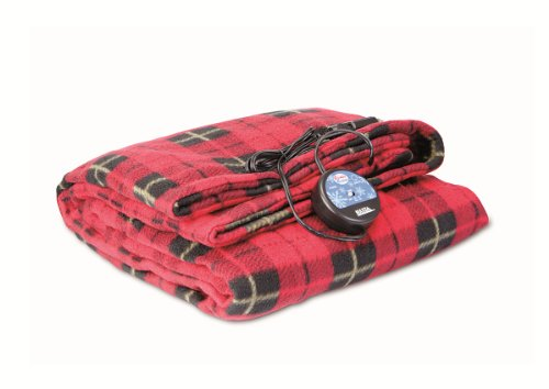 """Large Heated Travel Blanket for In-Vehicle Usage with 12-Volt Car Adapter and Safety Timer (41"""""""" x 57""""""""), Red Plaid"""