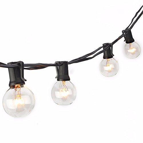SUNSGNE 50Ft G40 Globe String Lights for Indoor&Outdoor Commercial Use, Retro Outdoor String Lights for Patio Backyard Pergola Cafe Bistro Garden Porch Umbrella Tents Decks,(Plus 2 Extra Bulbs)-Black