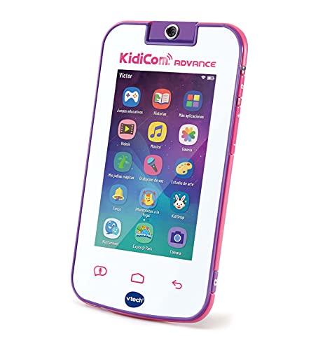 VTech - Kidicom Advance, dispositivo inteligente para niños, pantalla táctil 5' HD, objetivo giratorio 180º para fotos, selfis y vídeos, control parental, juegos, color blanco/rosa (80-186657)