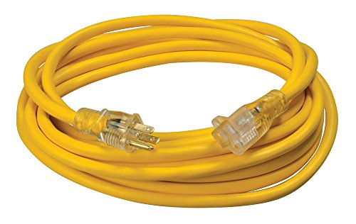 Southwire 02587 12/3 Vinyl Outdoor Extension Cord with Lighted End, 25-Foot