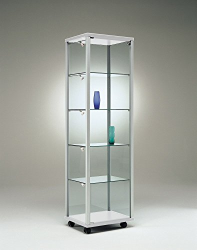 Vitrina de cristal con cerradura para exposiciones, diseño estrecho iluminado, vitrina de venta, cristal, coleccionista, cierre estrecho, altura rodable, 50 x 40 cm, parte trasera de espejo