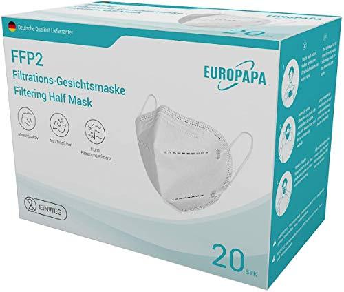 EUROPAPA 20er-Pack FFP2 Atemschutzmaske CE zertifizierte und DEKRA geprüfte 5-Lagen-Mundschutzmaske