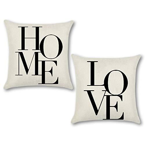 Artscope Set di 2, Federe per Cuscini Divano Poliestere Biancheria Gettare Decorativo Caso Federa Cuscino Divano Auto Home Decor 45 x 45 cm (Love Home)