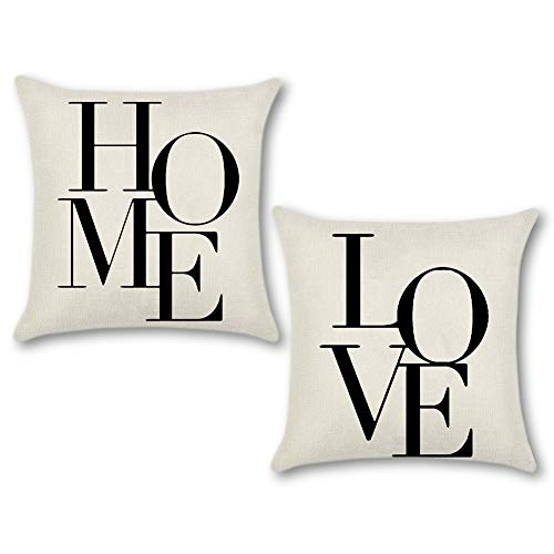 Artscope Set di 2, Federe per Cuscini Divano Cotone Biancheria Gettare Decorativo Caso Federa Cuscino Divano Auto Home Decor 45 x 45 cm (Love Home)