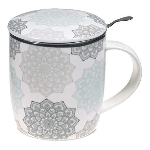 Satya Confezione Regalo Grigio Mug Mandala con Tazza 400 CC, Coperchio e infusore Inox - Porcellana Bone China