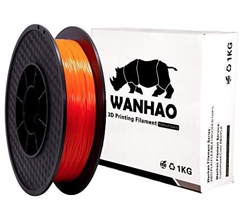 Wanhao - Filamento flessibile in TPU 95 A, 1,75 mm, 0,5 kg, per stampante 3D, arancione, 1