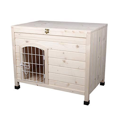LINLUX Indoor Wooden Dog House with Wire Door,...