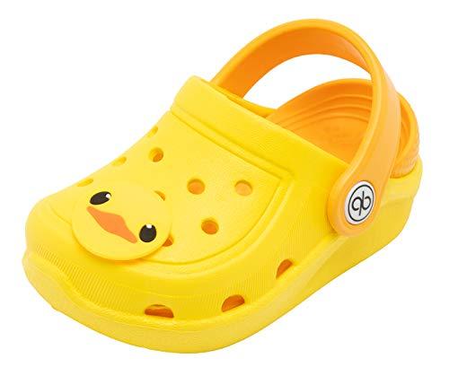 dripdrop Girls Comfort Clogs Toddler Slip On Garden Slippers Kids Water Sandals Lightweight Boys Summer Pool Beach Shoe (Toddler/Little Kids) (8.5, Yellow)